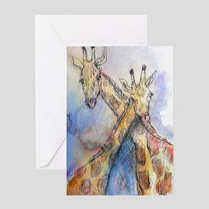 Giraffes, wildlife art, Greeting Card