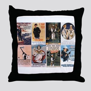 WWI Navy Posters Throw Pillow