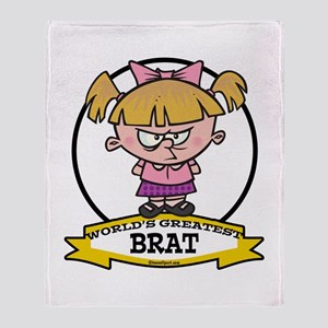 WORLDS GREATEST BRAT GIRL Throw Blanket
