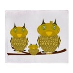Family of Owls Throw Blanket