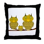 Family of Owls Throw Pillow