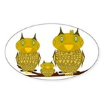 Family of Owls Sticker (Oval)