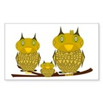 Family of Owls Sticker (Rectangle)