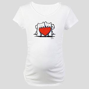 Japanese Spitz Heart Duo Maternity T-Shirt