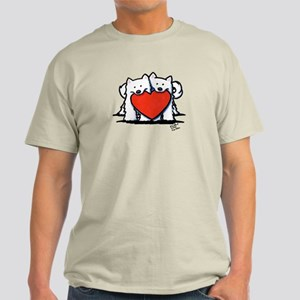 Japanese Spitz Heart Duo Light T-Shirt