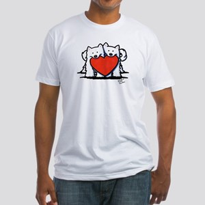 Japanese Spitz Heart Duo Fitted T-Shirt