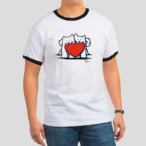 Japanese Spitz Heart Duo Ringer T