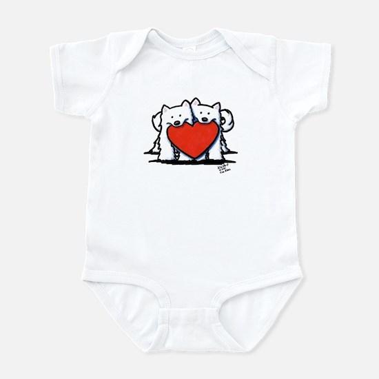 Japanese Spitz Heart Duo Infant Bodysuit