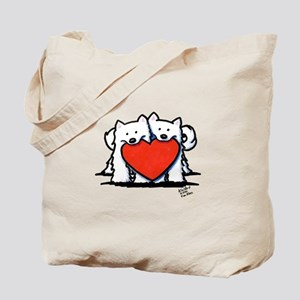 Japanese Spitz Heart Duo Tote Bag
