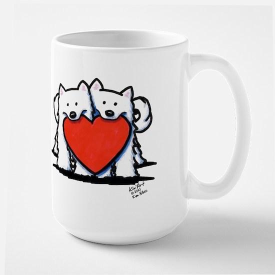 Japanese Spitz Heart Duo Large Mug