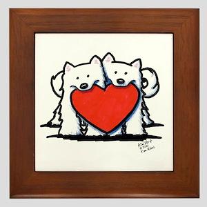 Japanese Spitz Heart Duo Framed Tile
