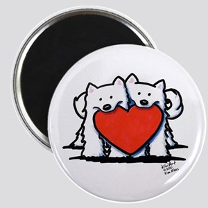 """Japanese Spitz Heart Duo 2.25"""" Magnet (10 pack)"""