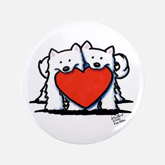 "Japanese Spitz Heart Duo 3.5"" Button"