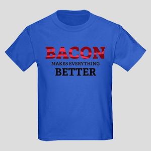Bacon makes everything better Kids Dark T-Shirt