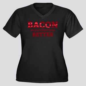 Bacon makes everything better Women's Plus Size V-
