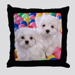 BICHON FRISE BALL PIT Throw Pillow