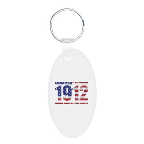 1912 Made In America Aluminum Oval Keychain