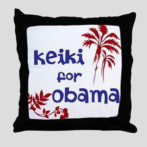 Keiki for Obama (2-color) Throw Pillow