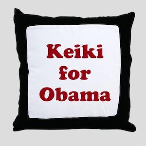 Keiki for Obama (1-color) Throw Pillow