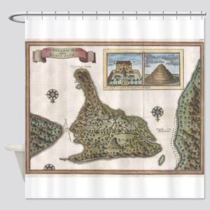 Vintage Map of Bali Indonesia (1760 Shower Curtain