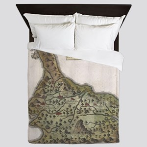 Vintage Map of Bali Indonesia (1760) Queen Duvet