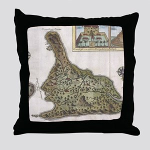 Vintage Map of Bali Indonesia (1760) Throw Pillow