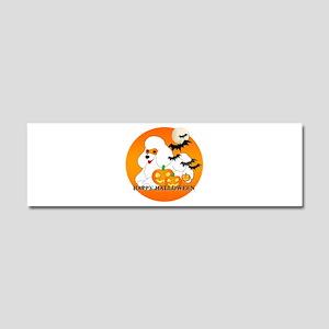 White Poodle Car Magnet 10 x 3