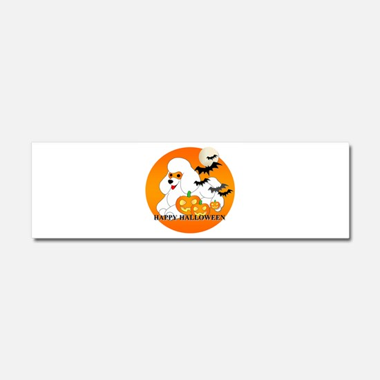 White Poodle Car Magnet 10 x 3