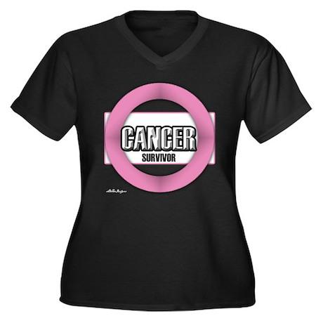 Cancer Survivor Women's Plus Size V-Neck Dark T-Sh