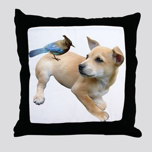 Puppy Jay Throw Pillow
