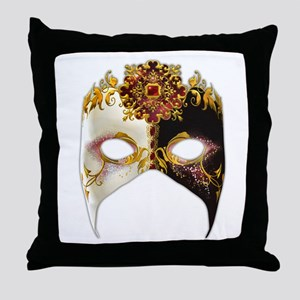 Venetian Mask: Ruby Jewel Throw Pillow