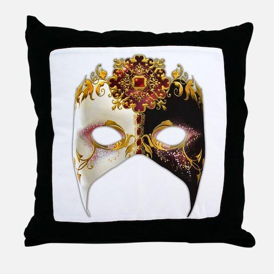 Venetian Mask: Ruby Jewel Throw Pillow