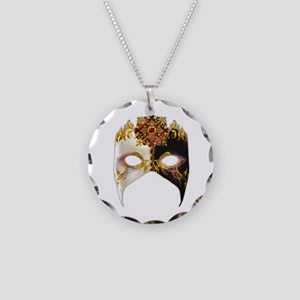Venetian Mask: Ruby Jewel Necklace Circle Charm