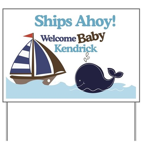 Ships Ahoy Whale Yard Sign - Kendrick