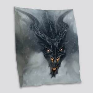 Evil Dragon Burlap Throw Pillow