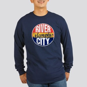 Memphis Vintage Label Long Sleeve Dark T-Shirt