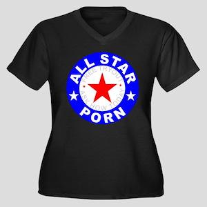 All Star Porn Women's Plus Size V-Neck Dark T-Shir
