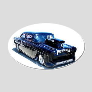 Black POW Classic Car 20x12 Oval Wall Decal
