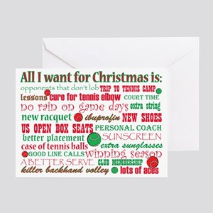 Tennis Holiday Greetings Greeting Cards (Pk of 10)
