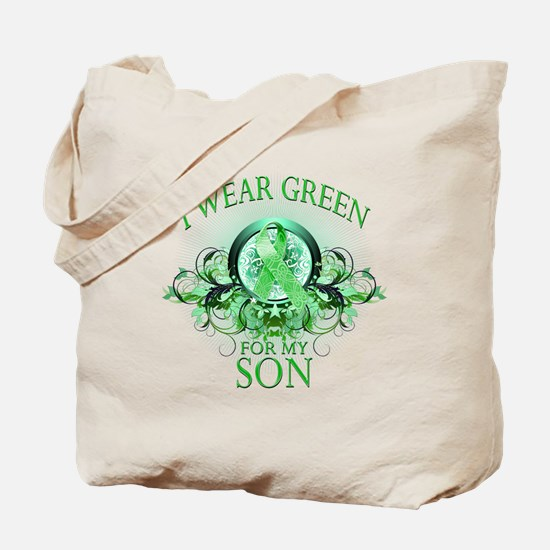 I Wear Green for my Son (flor Tote Bag