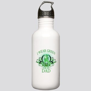 I Wear Green for my Dad (flor Stainless Water Bott