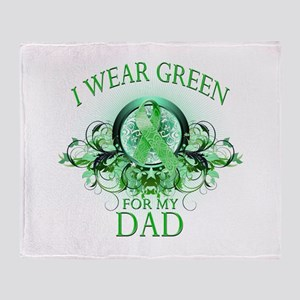 I Wear Green for my Dad (flor Throw Blanket