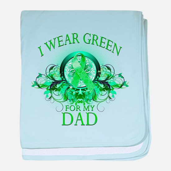 I Wear Green for my Dad (flor baby blanket