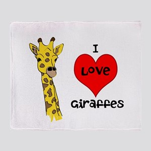 I Love Giraffes! Throw Blanket