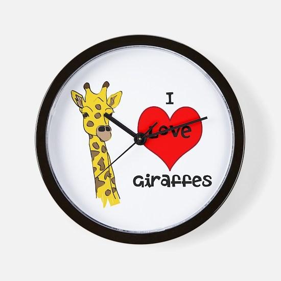 I Love Giraffes! Wall Clock