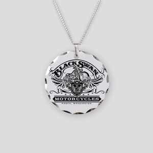Black Swan Motorcycles Necklace Circle Charm