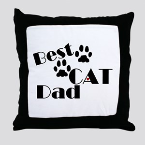 Best Cat Dad Throw Pillow