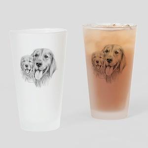 Golden Retrievers Drinking Glass
