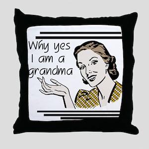 Retro Grandma Throw Pillow