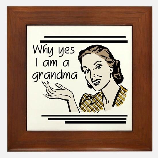 Retro Grandma Framed Tile